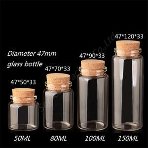 Diameter 47mm Clear Glass tube wishing bottle lucky star creative transparent cork glass bottle 50ml, 80ml, 100ml, 150ml