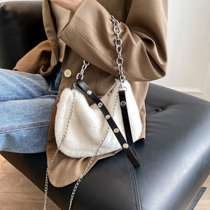 New Style 77616 Winter Soft Plush Shoulder Bags Women Messenger Bags Ladies Furry Crossbody Bag with Chain Solid Color Purse Handbags