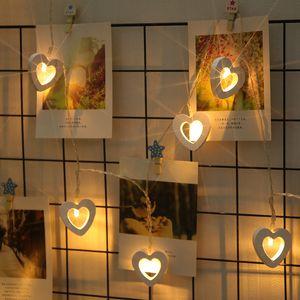 Ahşap Aşk LED Işık Dize Kalp Garland Gece Lambası Peri Bahçe Düğün Parti Dış Aydınlatma Noel Çocuk Odası Süslemeleri