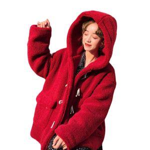 Winter Warm Fleece Coat Jacket Women Elegant Faux Fur Loose Hoodie Overcoat Soft Fur Horn Buckle Outwear Female Plush Coat