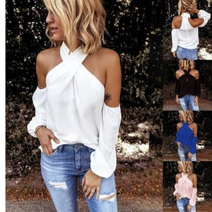 GAOKE Off shoulder white blouse shirt Women bodycon blouse elegant summer sexy shirt 2020 female blusas tops & tees