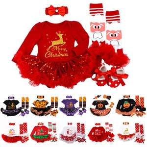 My 1st Christmas Baby Girls Romper Sets Shorts Dress Set Halloween Costume Clothes Baby Clothing 4Pcs Christmas's Baby Gifts