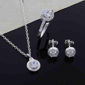 Women Round Zircon Ear Studs Open Ring wedding Necklace Fashion Party Jewelry Charm Set womens costume jewelry