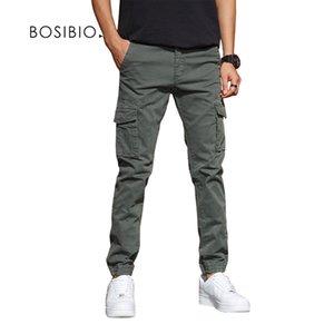 BOSIBIO Mens Slim Fit multi poches cargo Pantalon Homme solide New joggeurs haute qualité Pantalons G3552 201111
