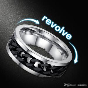 Spinner Rings For Men Black Chain Jewelry Punk Titanium Steel Metal Brand Finger Anel Mens Rings