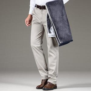 Shan BAO Süper Sıcak Fleece Kalın Erkekler Düz İnce Casual Pantolon Lüks Yüksek Kalite Klasik İşlemeli İş Pantolon 28-42