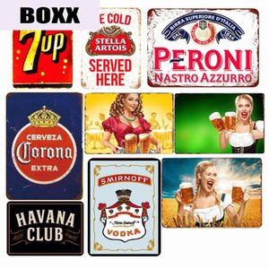 Ice Cold Drinks Beers Poster Vintage Metal Tin Sign Soft Drink Pin Up Girl Retro Plaque Pub Bar Casino Metal Wall Art Decor WY57