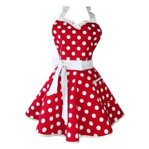 NEW-Lovely Sweetheart Red Retro Kitchen Aprons Woman Girl Cotton Polka Dot Cooking Salon Vintage Apron Dress Christmas C0127