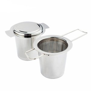 304 Stainless Steel Silver Tea Strainer Folding Foldable Tea Infuser Basket For Teapot Cup Teaware FWD2554