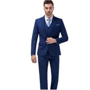 Trajes para hombres Blazers Mens vestido de novia Slim Traje Ropa comercial Hombre Navy Blue Fashion Tres piezas (chaqueta + pantalones + chaleco)