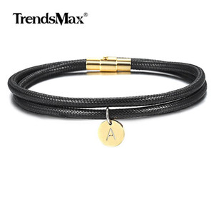 Clasp Stack Initial Girls Leather Name For A Z Letter Gold Dlb182 Bracelet Filled Magnetic Women Charm 4mm Wristband Jewelry tsetIJz