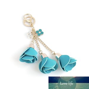 EUBFree 20pcs 18colors Charm Leather Rose Flower Key Chains Tassel Flower Keychains Women Keychain Bag Purse Pendant Jewelry