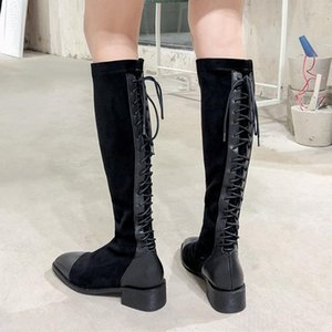 Chaussures femme new winter shoes women high boots cow leather flock cross-tied riding boots women's knight botas mujer