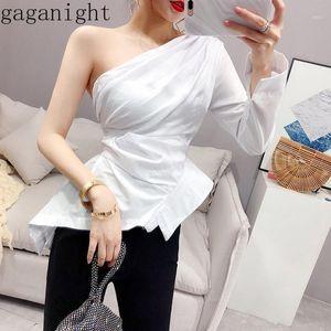 Gaganight coréen mode femme blouse solide élégant bureaudy shirt slim chemise irrégulière collier unique manches longues blusas chic1