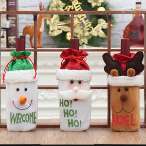 Dustproof Wine Bottle Packaging Bag Red Wine Bottle Cover Champagne Pouches Party Gift Wrap Snowman Elk Christmas Decorations BH4247 WXM