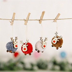 colgantes de Navidad decorado con celebraciones cervatillo lindo fieltro colgantes alces creativa colgantes del árbol de navidad regalos T3I51319