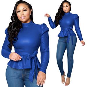 Tasarımcı PU Tshirts Moda Uzun kollu İlkbahar Sonbahar Bandge İnce Yüksek Yaka Casual Tees Tops Womens