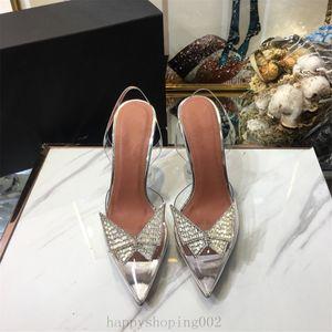 완벽한 공식 품질 아미나 신발 Begum 활 크리스탈 장식 PVC 슬링 백 펌프 재입고 Begum PVC 슬링 백 9cm 하이힐 35-40