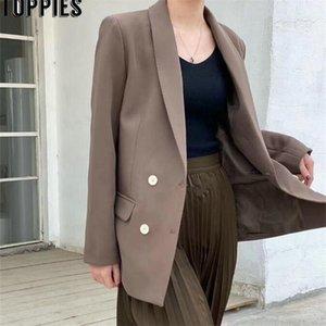 TOPPIES Frühling Herbst Zweireiher Blazer Koreanische Modejacke Chic Jacken Y201026