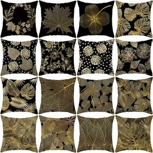 products black Home gold leaf pillow cover office cushion cover waist pillow cover