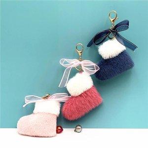 Plush Car Key Chain Ring Christmas Boots Keychain Cute Lace Bow Bag Charms Pendants Xmas Gift Cartoon Pompom Keyring Fashion Accessories