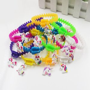 Hot Creative Mixed Cute Unicorn Silicone Bracelet Unisex Charm Wristband Home Party Jewelry Gifts Free Shipping