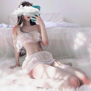 일본의 별빛 소녀 메쉬 거즈 Strapless Lolita Lace Sexy Night Night Night Lingerie 세트 여성 브래지어 + 가터 + 브리핑 잠옷 세트