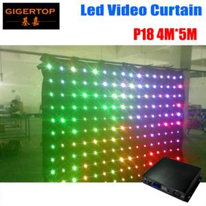P18 4M * 5M الصمام الرؤية الستار RGB LED مضادة للحريق فيديو أدى الستار على الخلفيات دي جي الزفاف خارج الخط وضع الفيديو الستار DMX تحكم