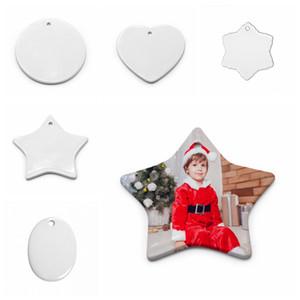 Пустой белый Сублимация керамический кулон передачи Творческий рождественские украшения Термическая Печать DIY керамический орнамент сердца круглый декора FFA4501