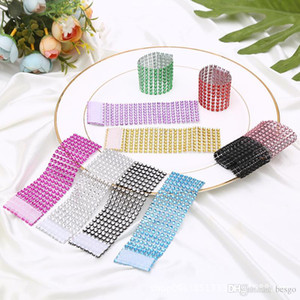 Rhineston Napkin Rings Plastic Napkin Buckle Mesh Wrap Napkin Ring Serviette Holder Hotel Wedding Accessory Table Decoration VT0317