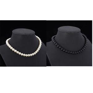 Высокое качество синтетическое жемчужное ожерелье для женщин 2015 Новые модные модные монтажные роскошные белые / черные бисером ожерелье 600 к2