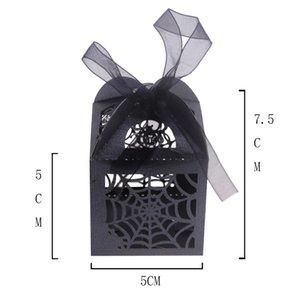 مربع أعلى العنكبوت صناديق السكر على شبكة الإنترنت الجوف خارج ورقة نحت الحلوى حالة الأسود هالوين سلسلة الحلوى الحالات 0 38QZ L1
