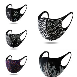 GF0 Payetli Maske Yüz Ağız Maske Vanası .Filter Süblimasyon Bisiklet Rhinestonwashable Moda
