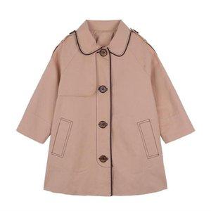 DFXD Kızlar Trençkot İngiltere Stil Haki Tek göğsü Uzun WINDBREAKER Ceketler Moda Bebek Giyim Kız eskitmek 2-7Yrs