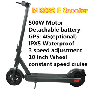 Electric Scooter MK089 Smart E Scooter Skateboard GPS IPX5 10inch 500W 50-75KM Motor Foldable Adult 150kg Maximum load Detachable battery