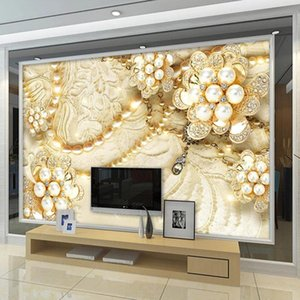 3D Wallpaper European Style Stereo Jewelry Lace Pearls Photo Wall Murals Living Room TV Sofa Luxury Home Decor 3D Self-Adhesive
