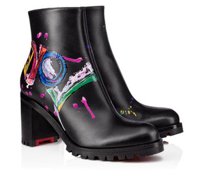 Luxury Designer Boot Leather Love Ankle Boots Black Elegant Heels red bottom Boots womens Winter Booty Dress,Party,Wedding