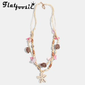 Flatfoosie New Bohemian Handmade Sea shell Statement Necklace for Women Multi Color Stone Shell Collar Chokers Necklace Wedding