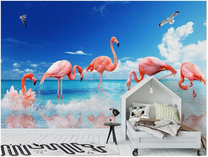 3d wallpaper custom photo Modern sea flamingo background decoration painting room wallpaper for walls 3d wall murals
