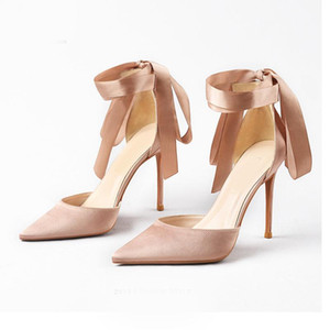 NIKALI Pointed strap Women Pumps Satin lace Pointed Toe High Heels Sexy Lady Shoes Bridal wedding shoes