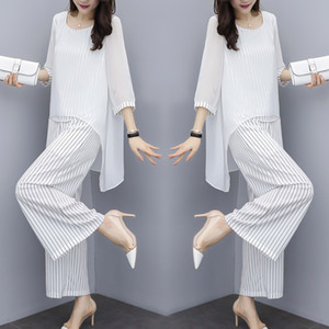 Chiffon Pantsuits Women Pant Suits For Mother of the Bride Outfit Formal Wedding Guest Striped Wide Leg Loose 3 Piece Sets 201009