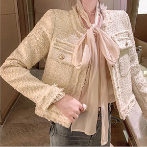 Tweed single-breasted small fragrance coat women spring autumn 2020 slim o-neck ladies jacket