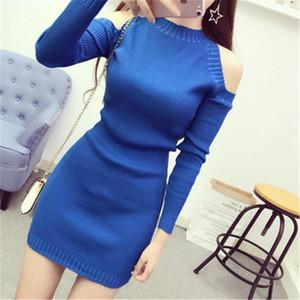 2020 korean Women Sweaters Dress Pullovers New Winter Warm Long Knitted Sweater Knitwear Gray Black Pink Plus Size ZY4087