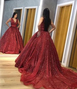 Red Prom Dresses Bling Sequined Ball Gown Quinceanera Pageant Dresses Evening Gowns Deep V Neck Court Train Sweet 16 Dresses