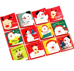 12pcs lot Cute Cartoon Christmas Card Mini Greeting Card Sets Message Blessing Card with Envelopes