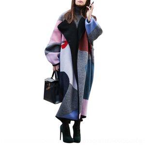 Ubno Black Womens Coat con Cinturón Extra Long Women Women Hipster Chaqueta Abrigos Operado de invierno abrigo de lana de gran tamaño