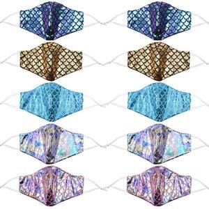 mascarilla sirena colorido con bolsillo de filtro de lentejuelas arco iris contra la cara de polvo cubiertas láser máscaras de diseño lavable BWA2226