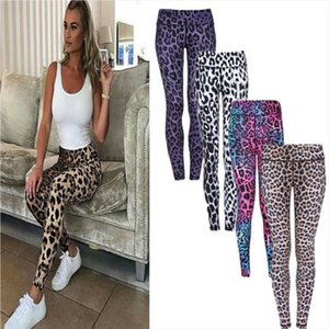 Womens Leopard Leggings Gym Stretch Pants Fitness Legging Jogging High Waist Slim Sports Trousers XL Drop Shipping