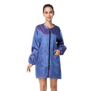 새로운 여성 드레스 긴 소매 짧은 드레스 O 넥 바람 자켓 이발이 앞치마 방수 작업복 미용사 앞치마 Y200805