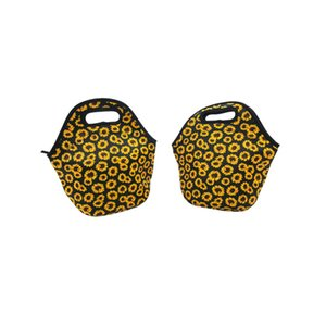Convenient Sunflower Printed Lunch Bag Neoprene Insulated Coolers Handbags Portable Food Containers Fit Outdoor Picnic Hot Sale 13ny E1